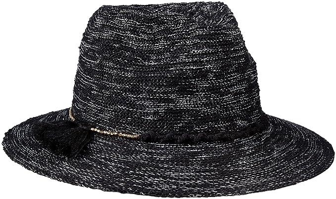 Vince Camuto Womens Cotton Slub Yarn Panama Hat Black One Size