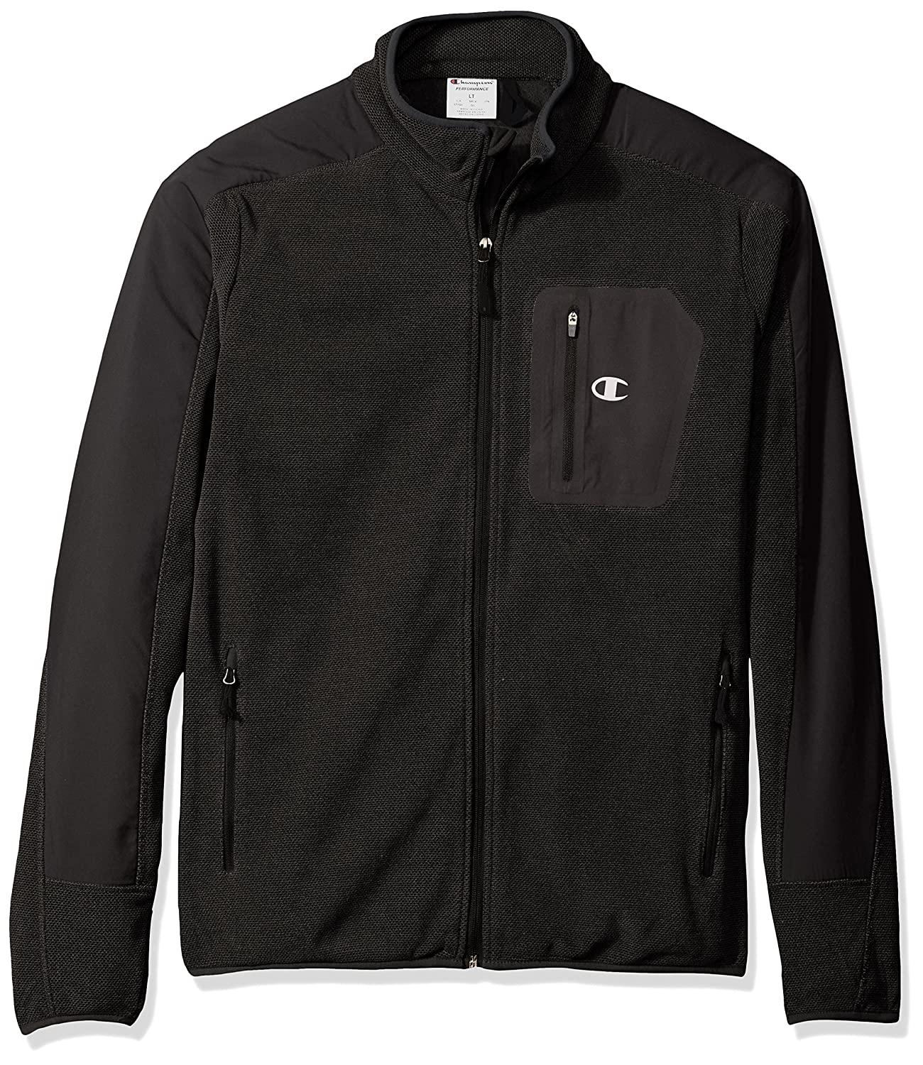 Champion Men's Mock Neck Textured Fleece Jacket - Tall Sizes Champion Mens Outerwear CH2015TFT