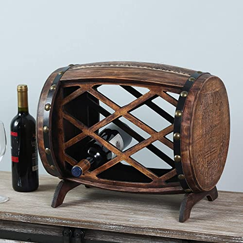 Five Bottle Countertop Barrel Wine Rack
