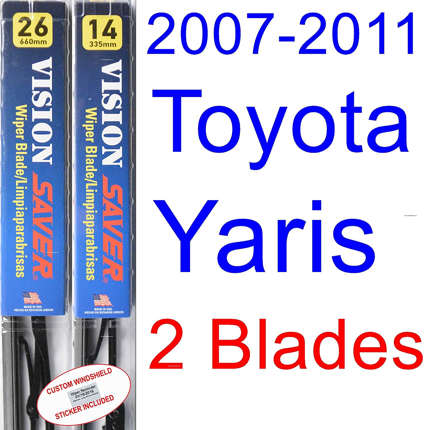 Amazon.com: 2007-2011 Toyota Yaris Replacement Wiper Blade Set/Kit (Set of 2 Blades) (Saver Automotive Products-Vision Saver) (2008,2009,2010): Automotive