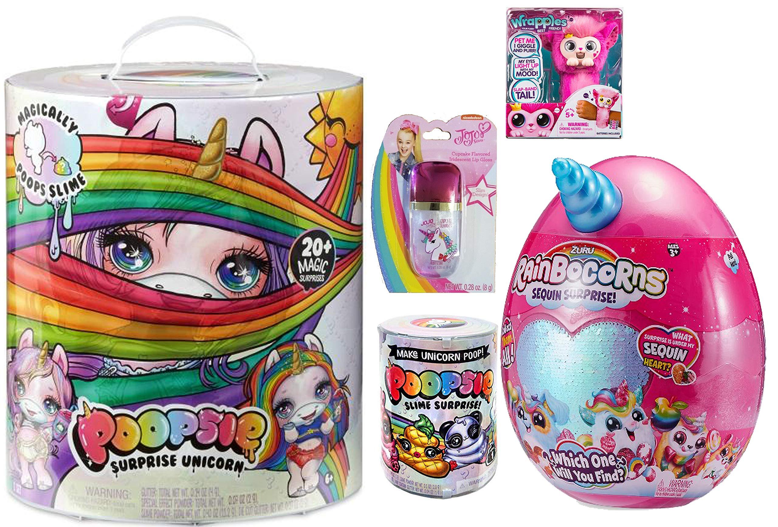 Poopsie Slime Surprise Unicorn, Raiborcorn, JoJo Siwa Unicorn Lip Gloss Slime Surprise Slime Bundle (Blue rainbocorn)
