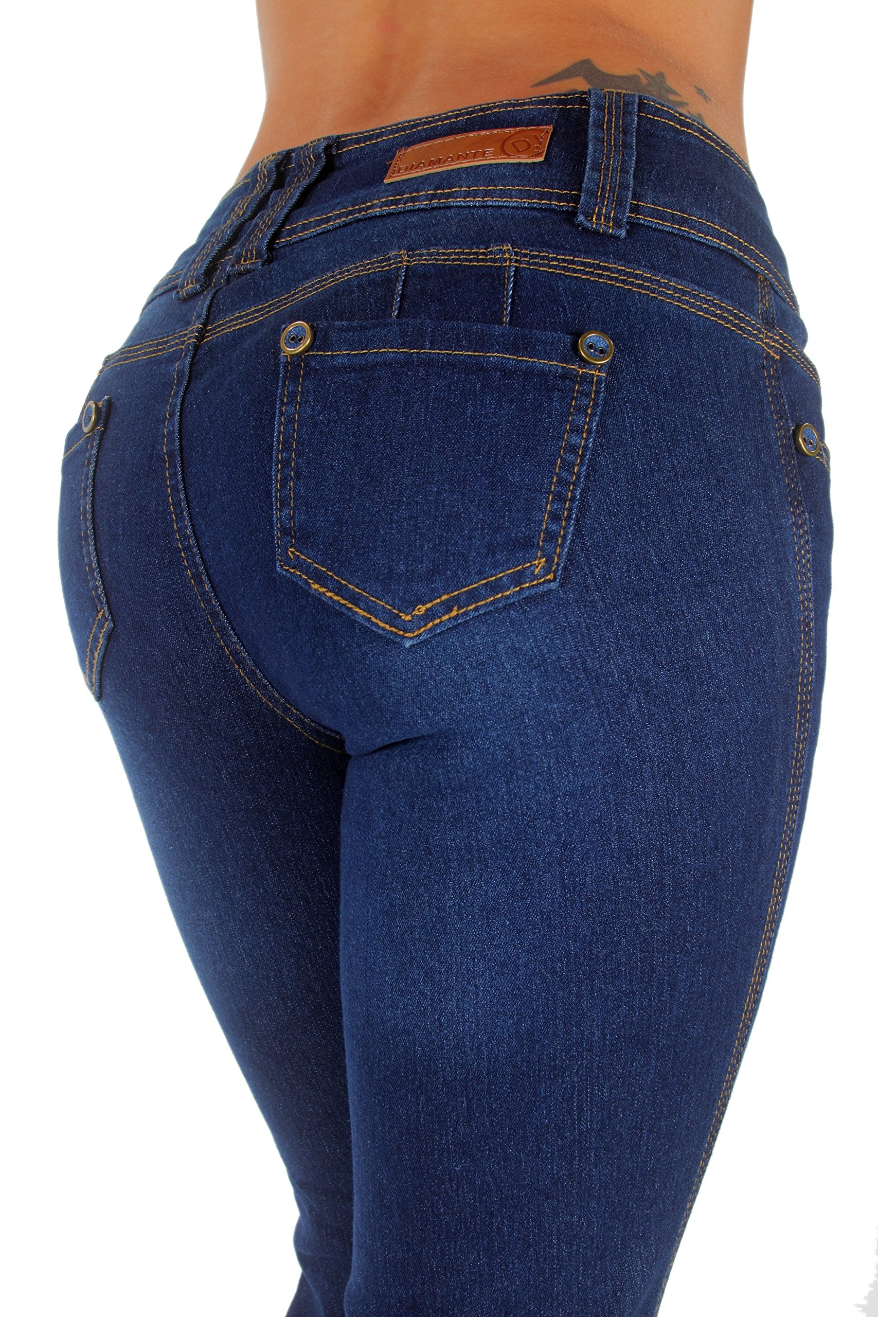 Style B925I1 – Colombian Design, Mid Waist, Butt Lift, Boot Leg Jeans in Dark Blue Size 7