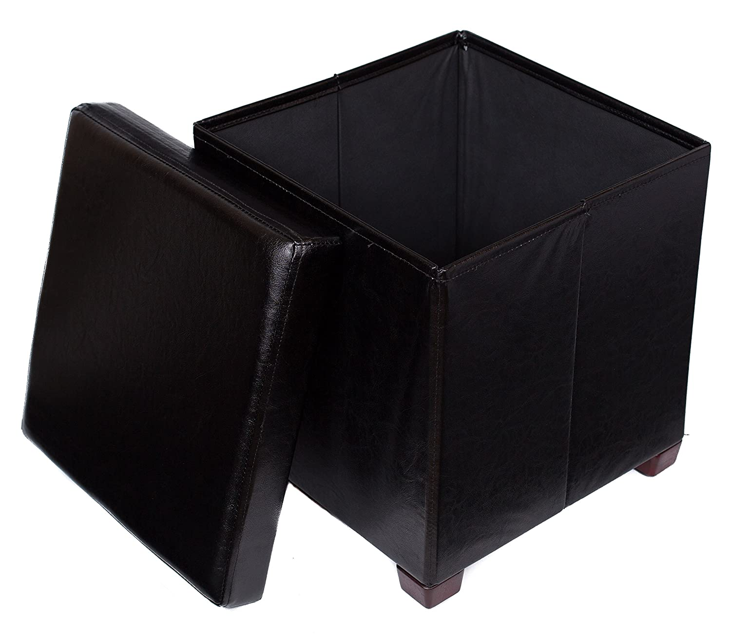 BirdRock Home Faux Leather Storage Ottoman (Black, With Legs) 1253