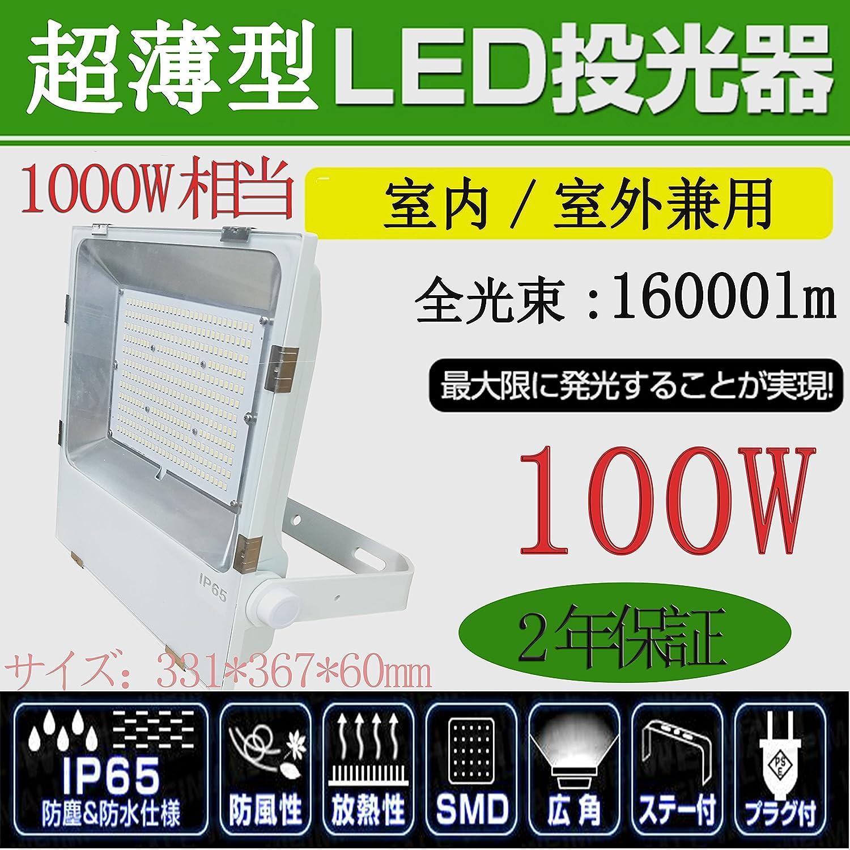 超薄型LED投光器 LED作業灯 LED集魚灯 100W消費電力 16000lm IP65防水防塵 防錆 防虫 角度調節可能 照射角度120° 5mコード 屋内外兼用 電球色3000K B0734JD868 18050