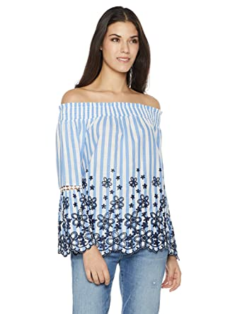 fc4160846d Amazon.com: Plumberry Women's Off-Shoulder Floral Embroidered Top X-Small  Blue Stripe: Clothing