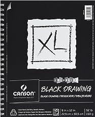 Canson XL Series–Bloc de dibujo, 22,9x 30,5cm Negro Side alambre