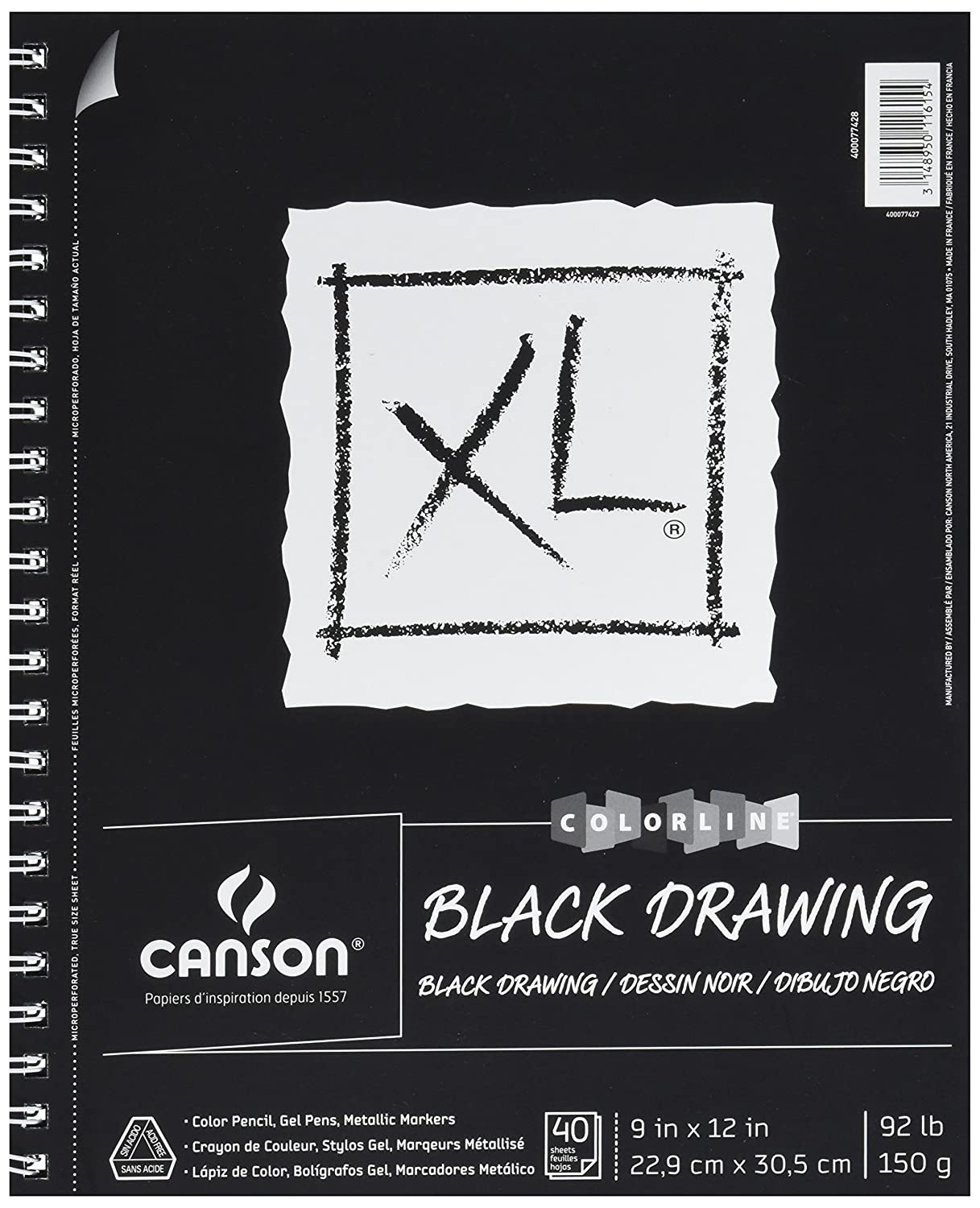 Canson XL Series Black Drawing Pad, 9X12 Side Wire 9X12 Side Wire 400077428