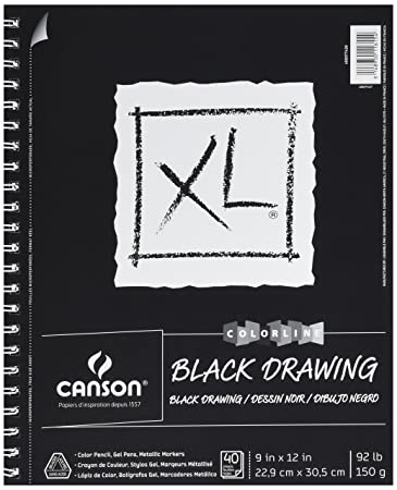 Amazon.com: CANSON 400077428 Canson XL Series Black Drawing Pad, 9 ...