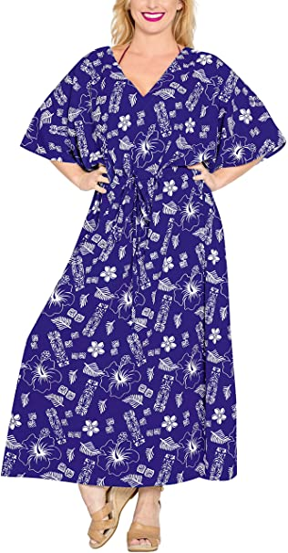Likre Traje de baño de la Playa Kimono Ropa de Dormir la Noche caftán más tamaño Vestido caftán r_Blue: Amazon.es: Ropa y accesorios