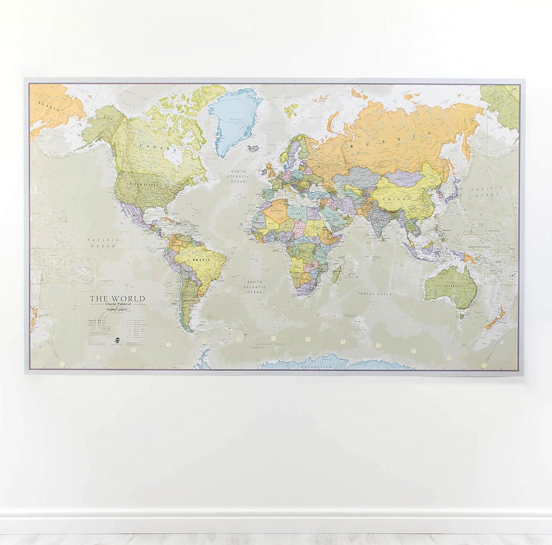 Mapa del mundo, plastificado, diseño Clásico: Amazon.es: Hogar