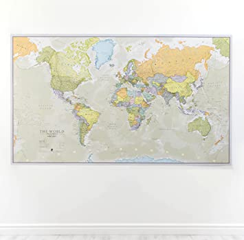 Huge classic world map political poster laminatedencapsulated huge classic world map political poster laminatedencapsulated 197cm w x 1165 gumiabroncs Image collections