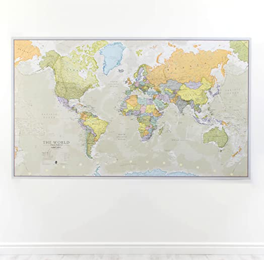 Huge classic world map political poster laminated encapsulated huge classic world map political poster laminated encapsulated 197cm w x 1165 gumiabroncs Gallery