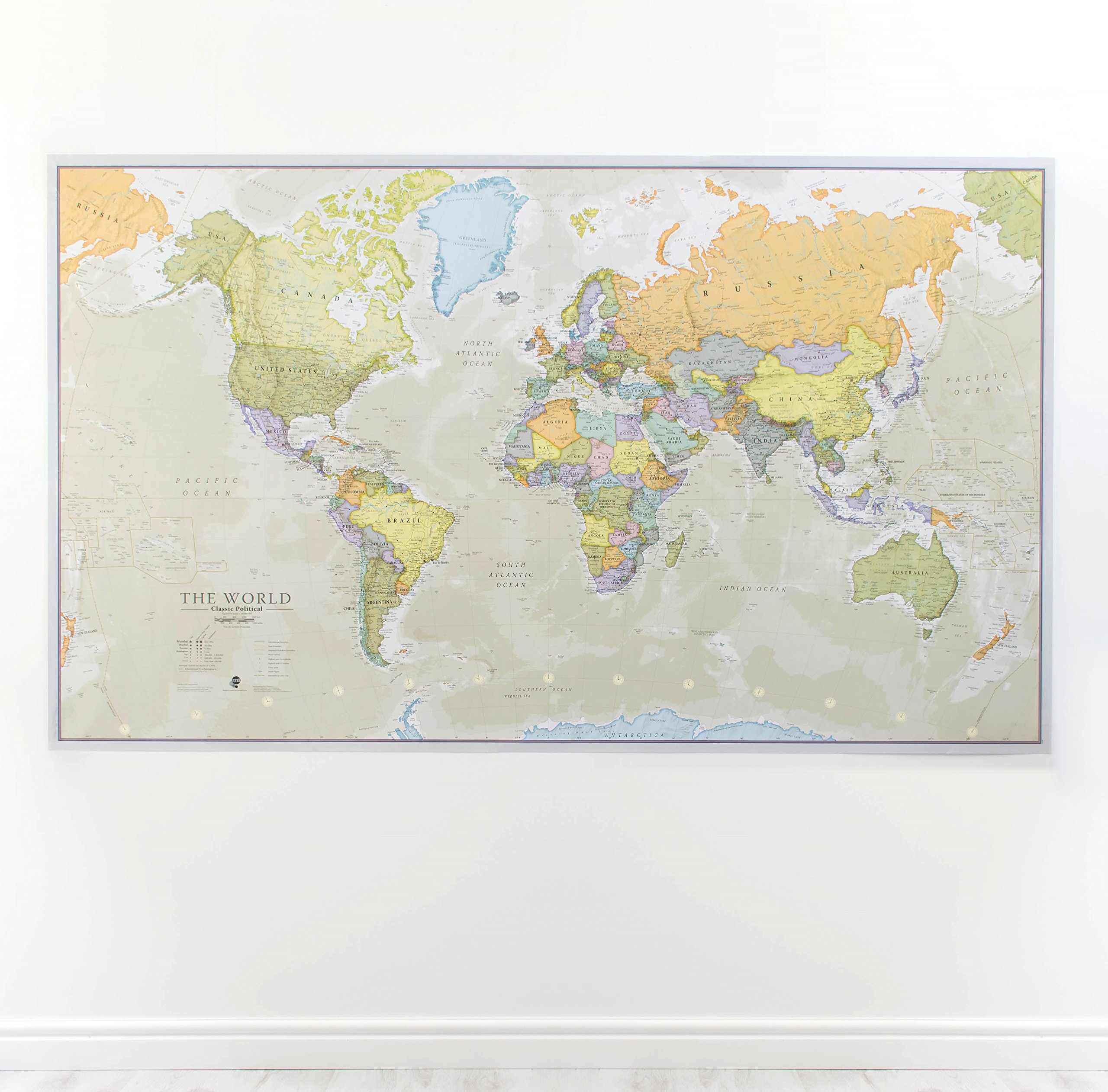 World maps amazon huge classic world map political poster laminatedencapsulated 197cm w x 1165 publicscrutiny Image collections