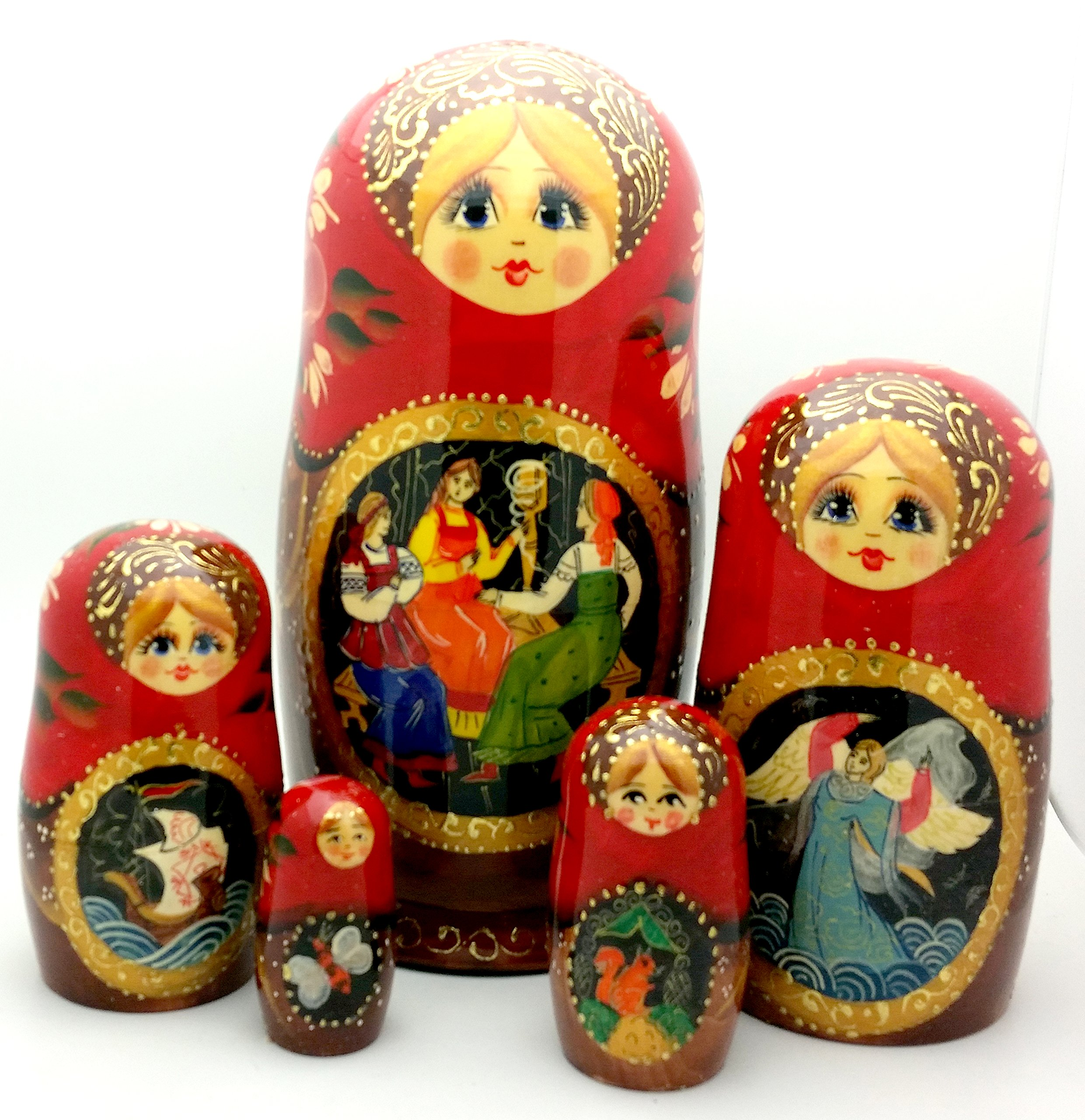 Tsar Saltan fairy tale by Pushkin Russian Nesting doll Hand Carved Hand Painted 5 piece Set 7'' tall