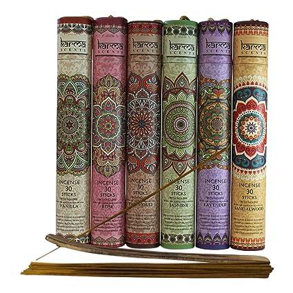 Karma Scents Premium Incense Sticks, Lavender, Sandalwood, Jasmine,  Patchouli, Rose, Vanilla, Variety Gift Pack 180 Sticks, Includes a Holder  in Each