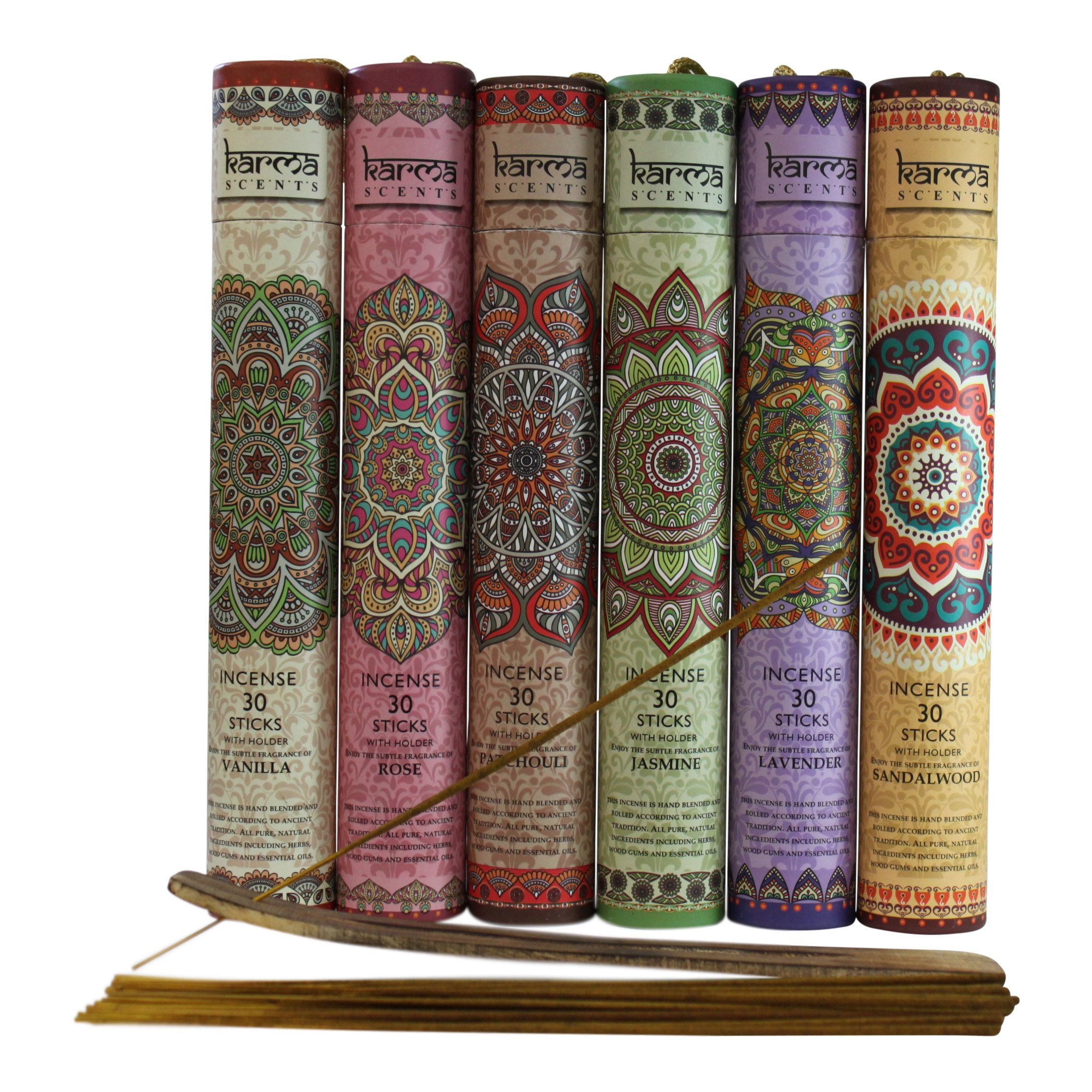 Karma Scents Premium Incense Sticks, Lavender, Sandalwood, Jasmine, Patchouli, Rose, Vanilla, Variety Gift Pack 180 Sticks, Includes a Holder in Each Box