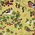 Entertaining with Caspari Winter Birds Cocktail Napkins, Gold, (Pack of 20)