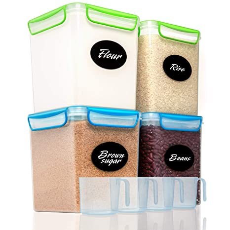 4 Large Airtight Food Storage Containers for Flour, Sugar 142 ounces -  Kitchen Pantry Plastic Containers - Air Tight Canisters Set With Locking  Lids - ...