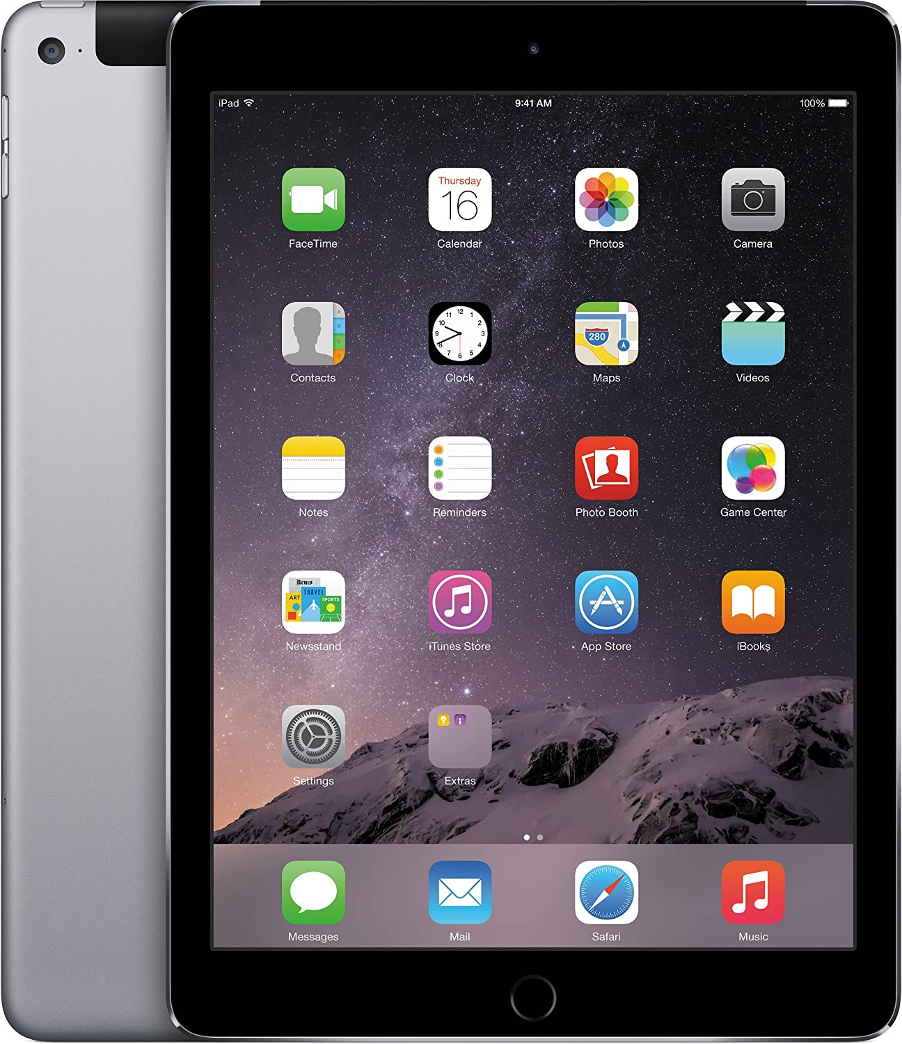 Apple iPad Air 2 MH2M2LL/A 64GB Wifi + Cellular Unlocked 9.7in Space Gray (Renewed)
