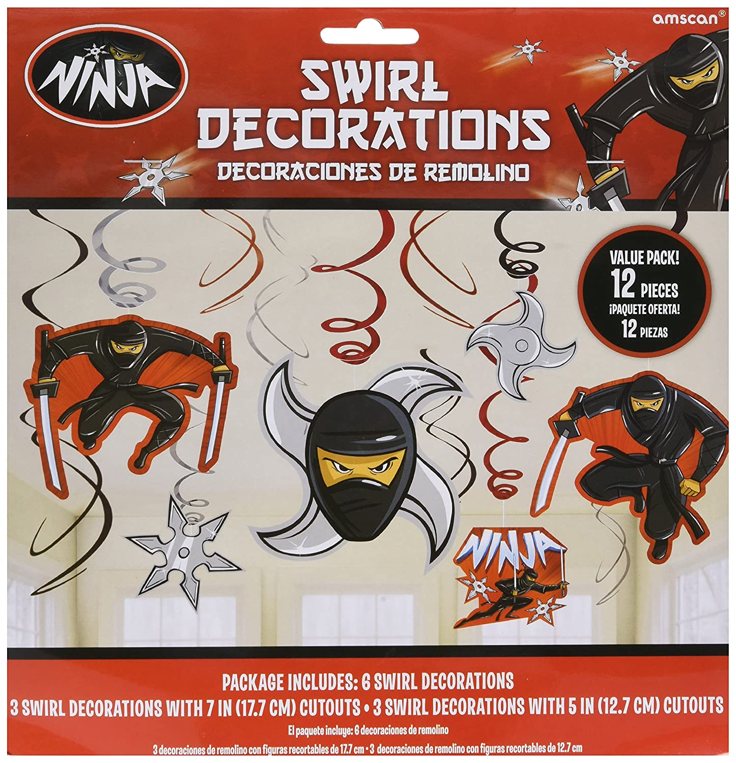 Action Packed Ninja Value Pack Foil Swirls and Cutouts Party Decorations, 12-Piece