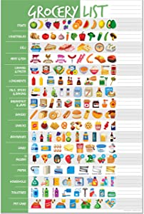Visual Grocery List Magnet Pad for Fridge - Icon Shopping List Magnetic Pad for Refrigerator - Weekly Planner Memo Notepad for Meal Planning, Menu, Food & Groceries - 6 x 9 inches - 50 Tear-Off Sheets