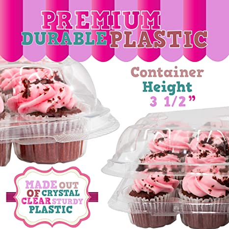 Set of 5 Plastic High Dome Cupcake Boxes for Tall Icing Perfect for Transporting Standard Size Muffins or Cupcakes Upper Midland Products 24 Slots Cupcake Containers Holders