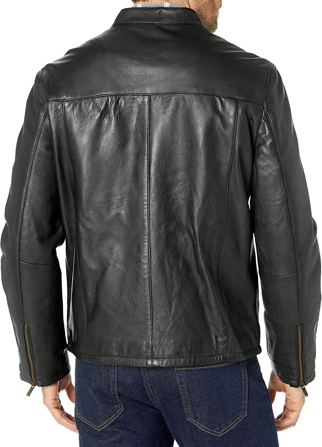 Cole Haan Mens Smooth Leather Moto Jacket