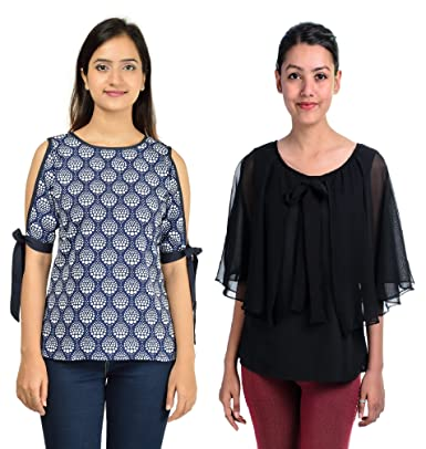 83bb35e20fb29d Timbre Stylish Black Cape Top and Blue Printed Top for Women's (Combo Pack  of 2