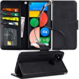Arae Case for Google Pixel 4A 5G PU Leather Wallet Case Cover [Stand Feature] with Wrist Strap and [4-Slots] ID&Credit Cards