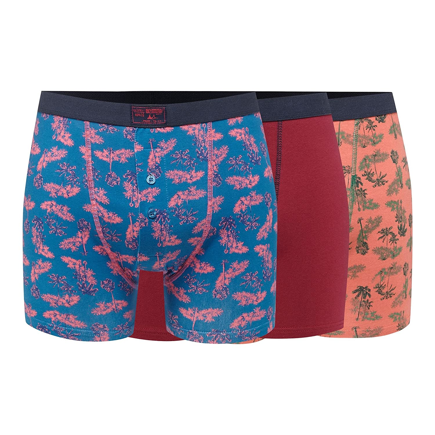 Mantaray Mens Pack Of Three Multicoloured Palm Tree Print Boxers
