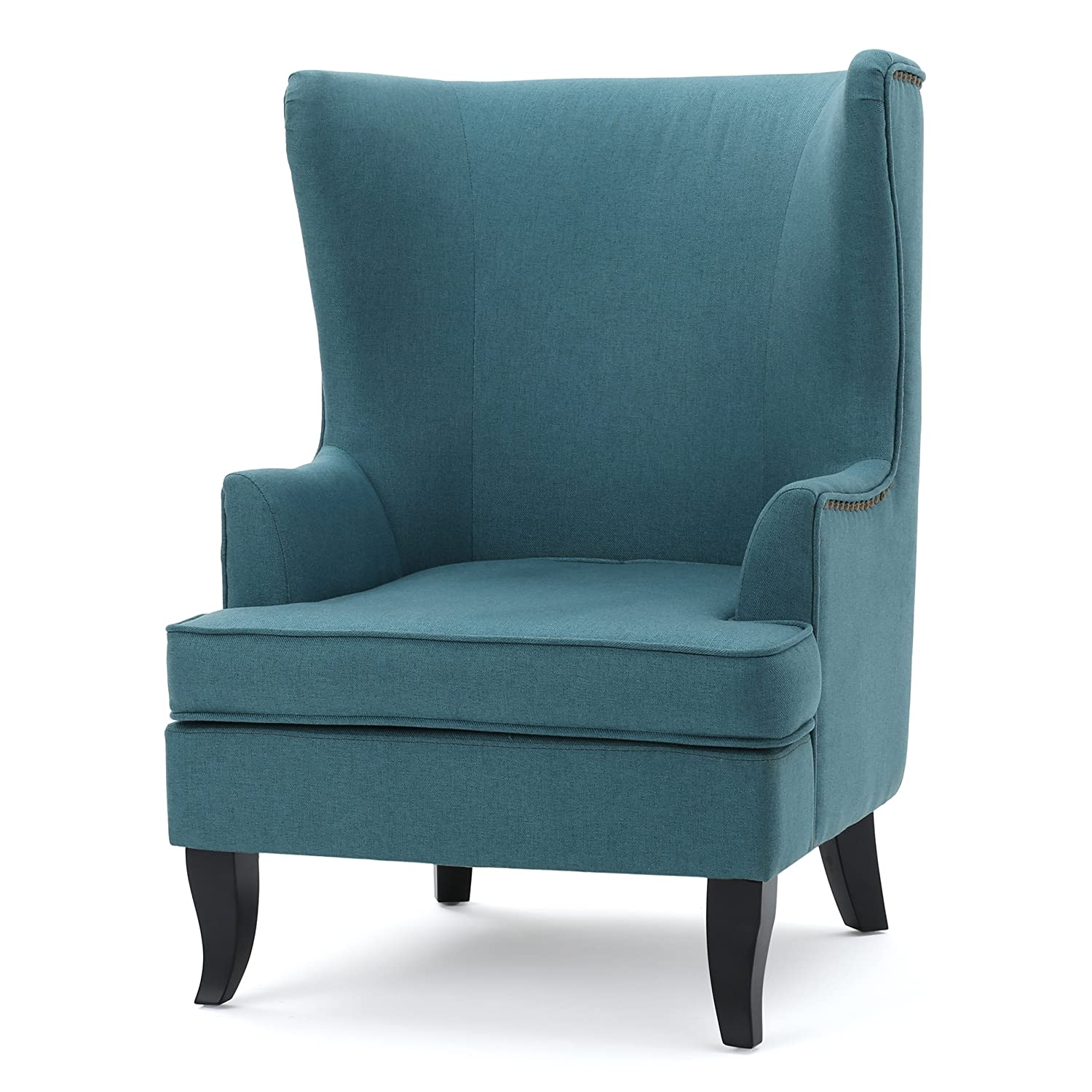 Teal Chair Amazoncom Jameson Tall Wingback Teal Blue Leather Club Chair