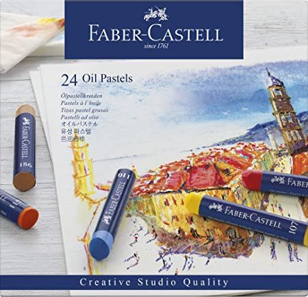 Faber-Castell 127024 - Estuche de cartón con 24 ceras pastel de aceite, multicolor: Amazon.es: Oficina y papelería