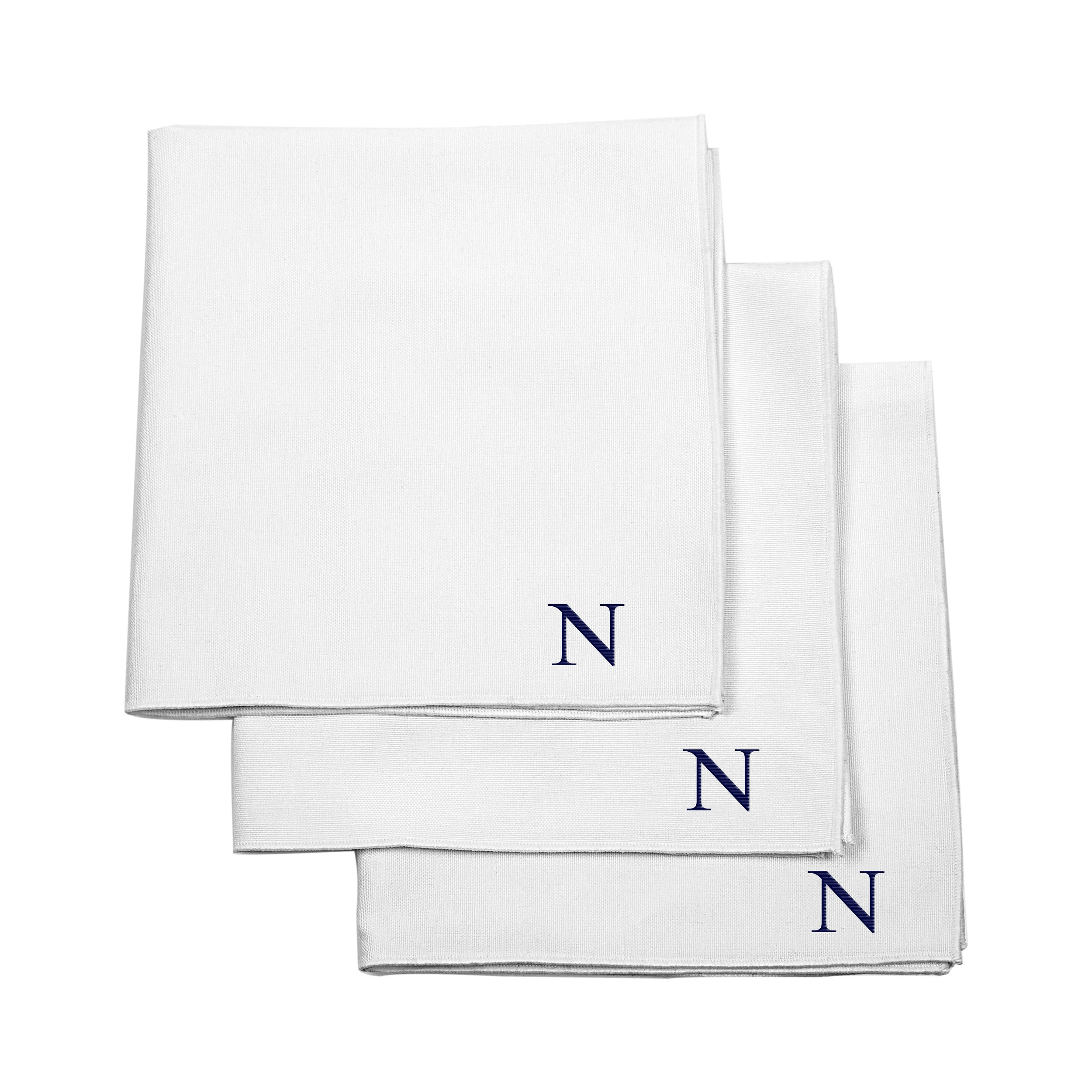 Cathy's Concepts Personalized Handkerchief Set, White, Letter N