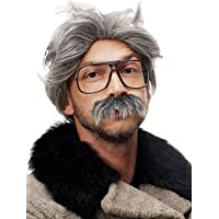WIG ME UP- 4129-P103-68A Peluca y Bigote Gris Carnaval Halloween Einstein Abuelo, Viejo, científico Loco, Mad Scientist…