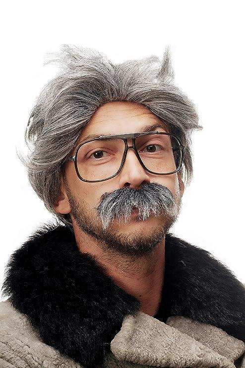 WIG ME UP ® - 4129-P103-68A Perruque et moustache gris Carnaval Halloween,  professeur fou, vieil homme, grand-père f664f197b468