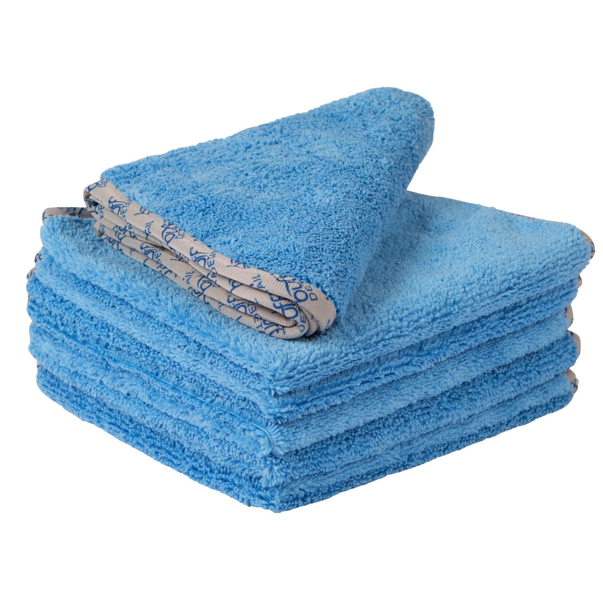 Buff Detail 400 Automotive Microfiber Towel | All-Purpose Auto Detailing - Wax Removal, Buff, Polish, Wash, Dry | Soft Satin Piped Edges | Streak Free Shine | 16''x16'' | 6 Pack (Blue)