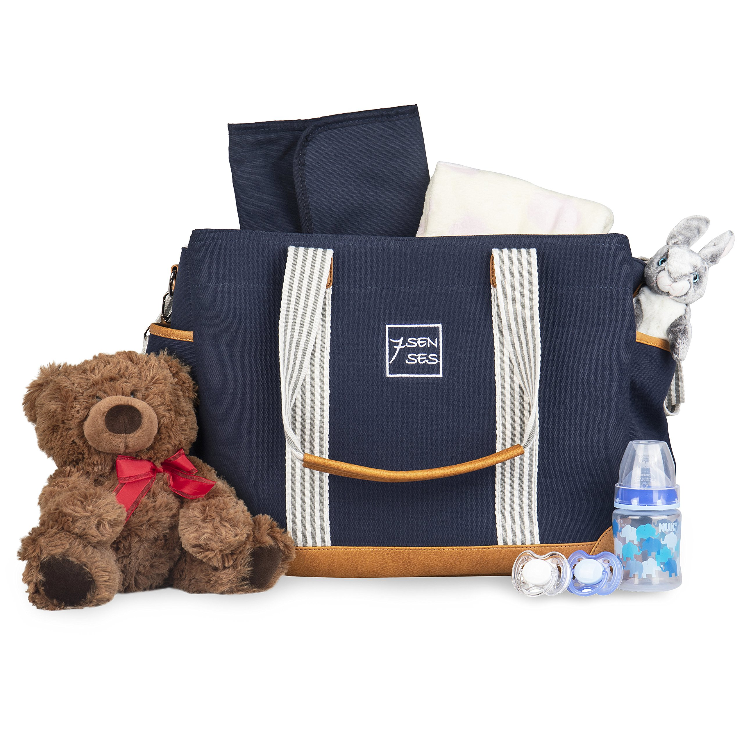 Diaper Bag for Girls and Boys - Large Capacity Baby Bag - Nappy Bag - Diaper Tote - Plus Changing Pad, Stroller Straps and 10 Pockets - Best Baby Shower Gift by 7Senses (Navy Blue) by 7Senses