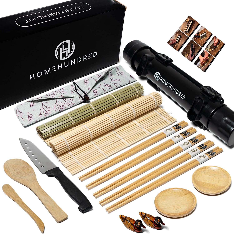 Sushi Making Kit for Beginners - With Bazooka Sushi Maker - Bamboo Sushi Rolling Mat - Sushi knife - Bamboo Chopsticks - chopstick holder - Rice Paddle - Easy to Use DIY Sushi Maker Kit for Home