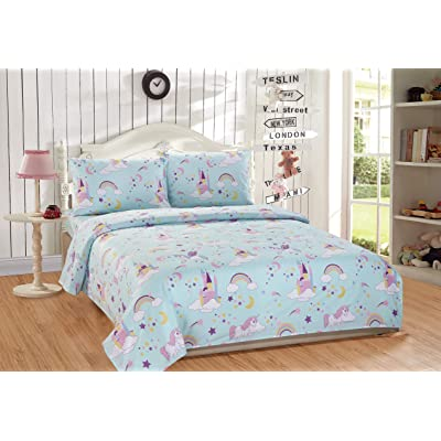 Mk Home 3pc Twin Size Sheet Set for Girls Unicorn Blue Pink Purple Yellow White New: Home & Kitchen