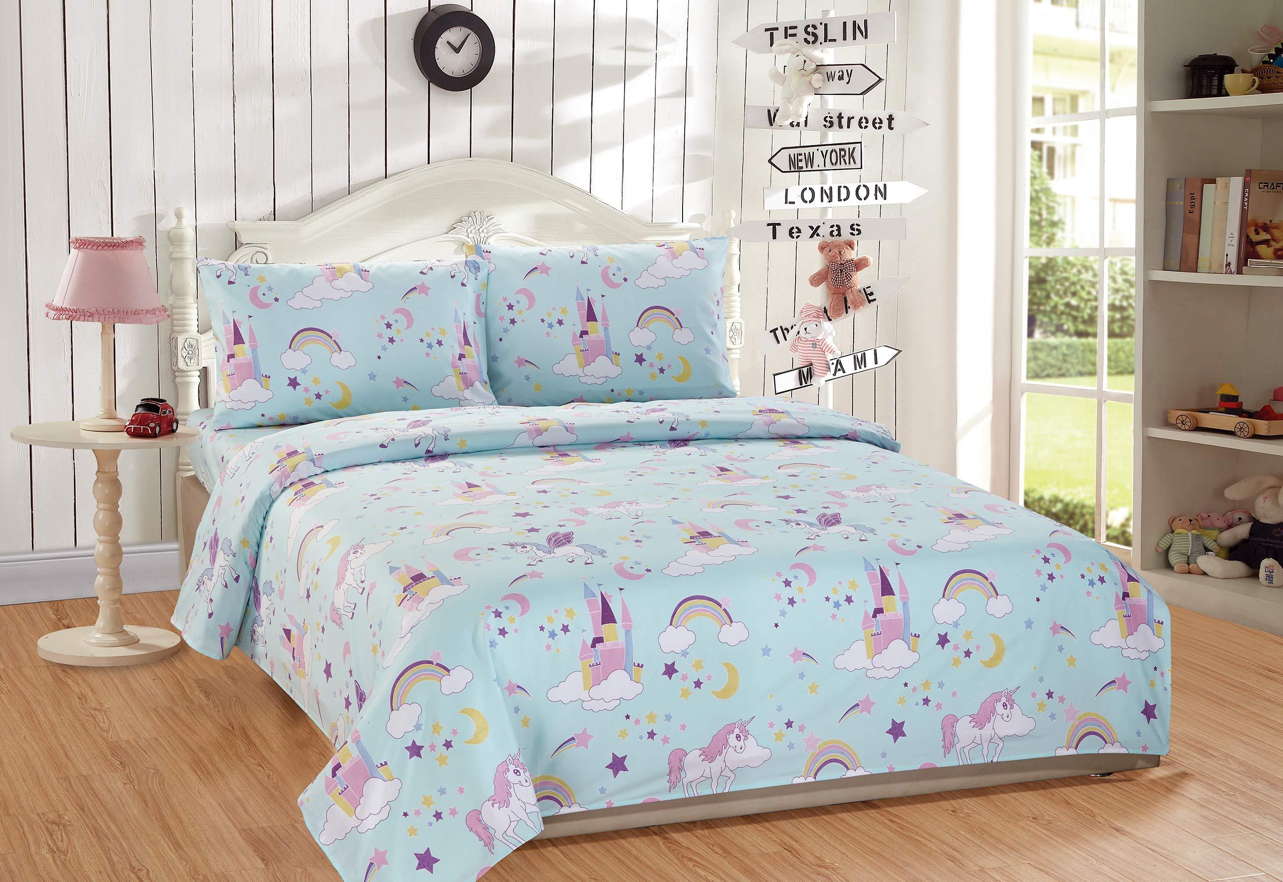Linen Plus Full Size 4pc Sheet Set for Girls/Teens Unicorn Rainbow Castle Blue Purple Yellow White New by Linen Plus