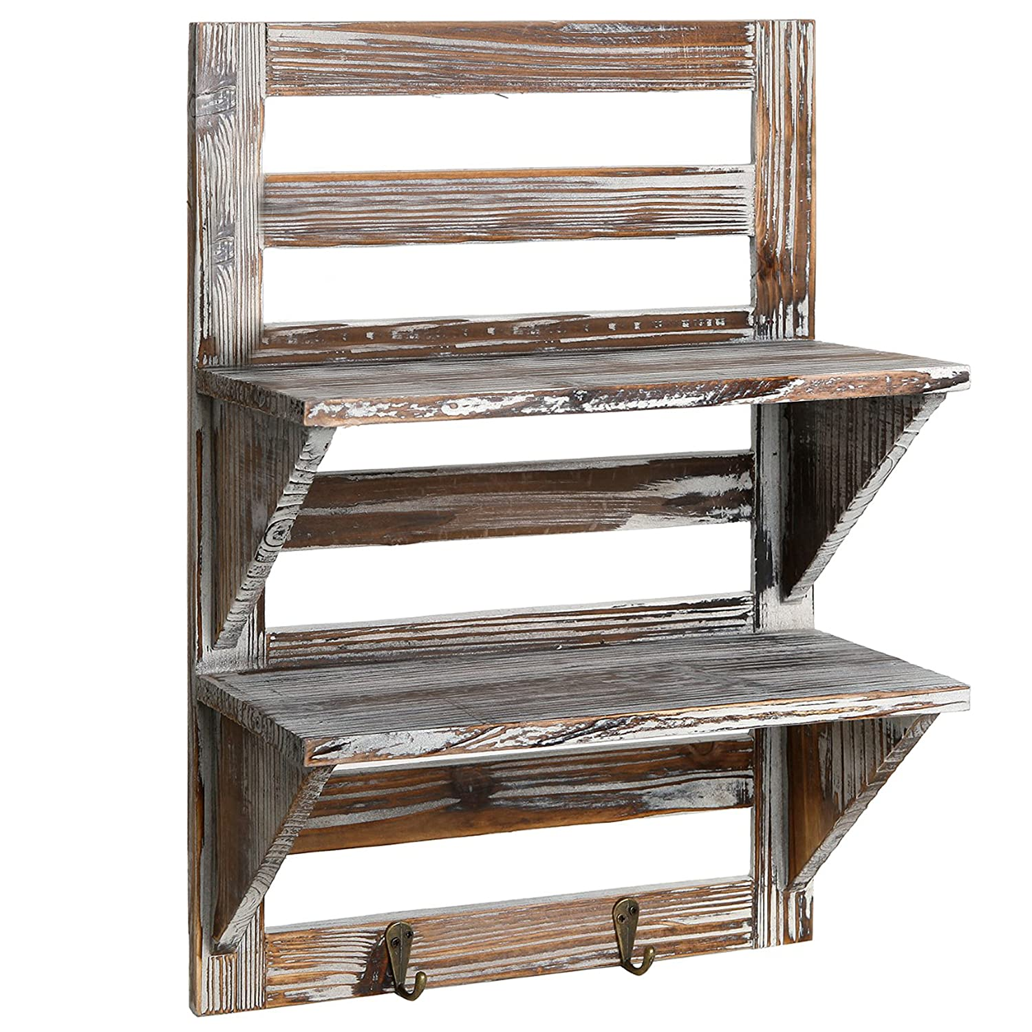 Superieur Amazon.com: MyGift Rustic Wood Wall Mounted Organizer Shelves W/ 2 Hooks,  2 Tier Storage Rack, Brown: Home U0026 Kitchen