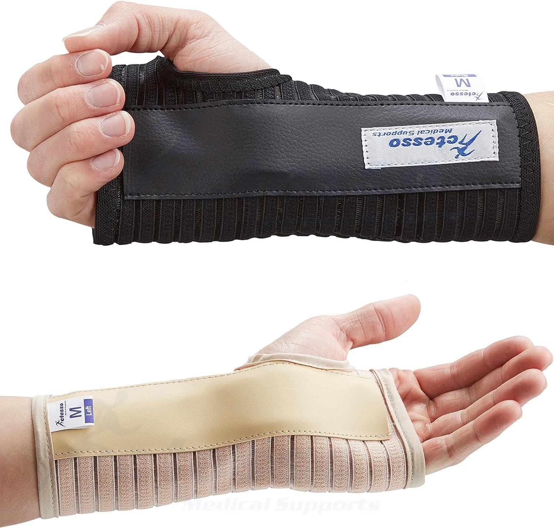 Transpirable Muñequera Elástica Con Férula- Perfecta para curar el síndrome de túnel carpiano, fracturas de muñeca, distensiones de muñeca o lesiones por esfuerzo repetitivo- Negra o beige. (Mediana I