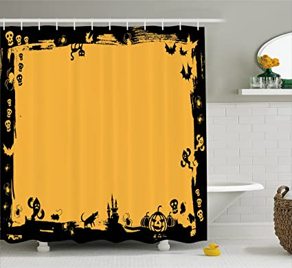 Ambesonne Halloween Shower Curtain By, Black Framework Borders With  Halloween Icons Cats Bats Skulls Ghosts
