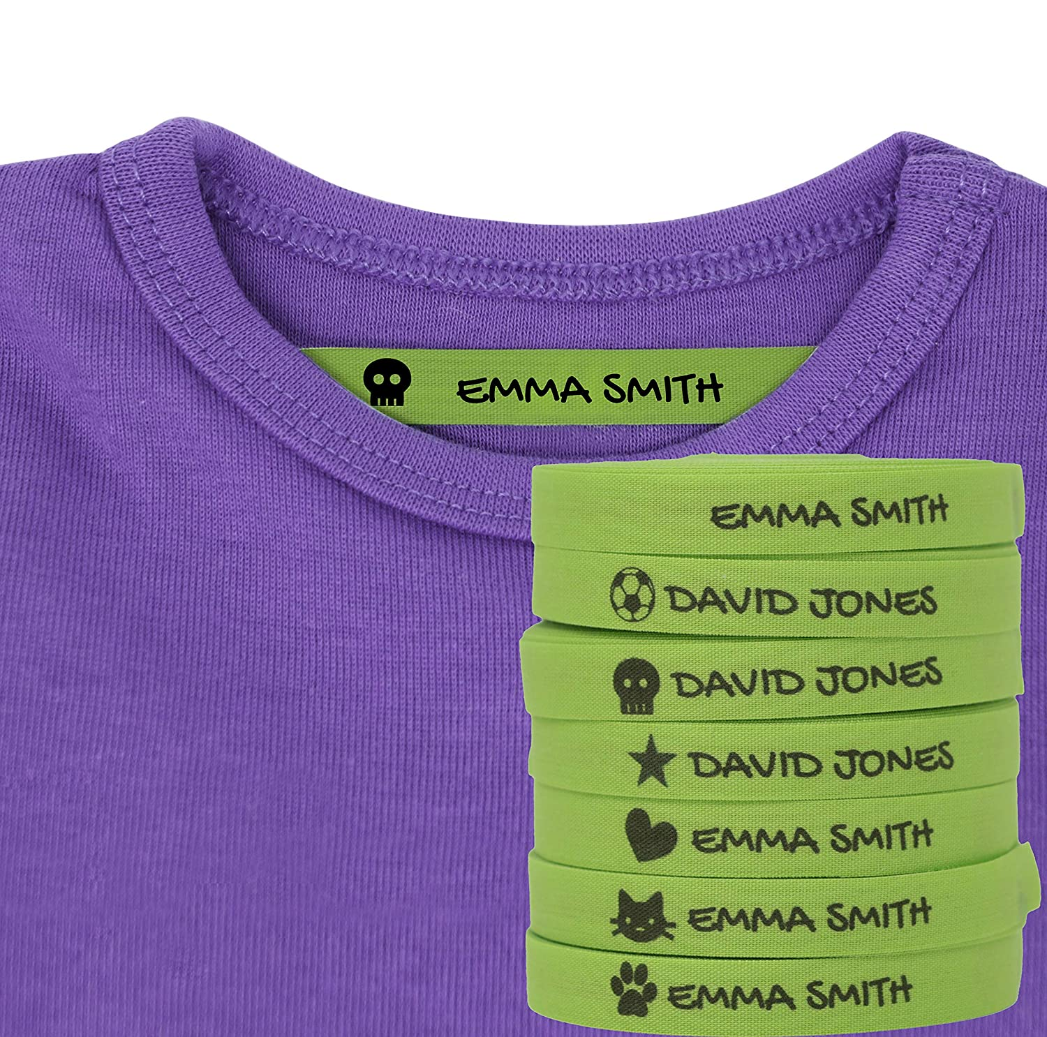 100 Personalised Iron-on Fabric Labels to Mark Your Clothes with Icons   White  Gentle with Your Kids Skin, for Children's School Uniform  (Icons)
