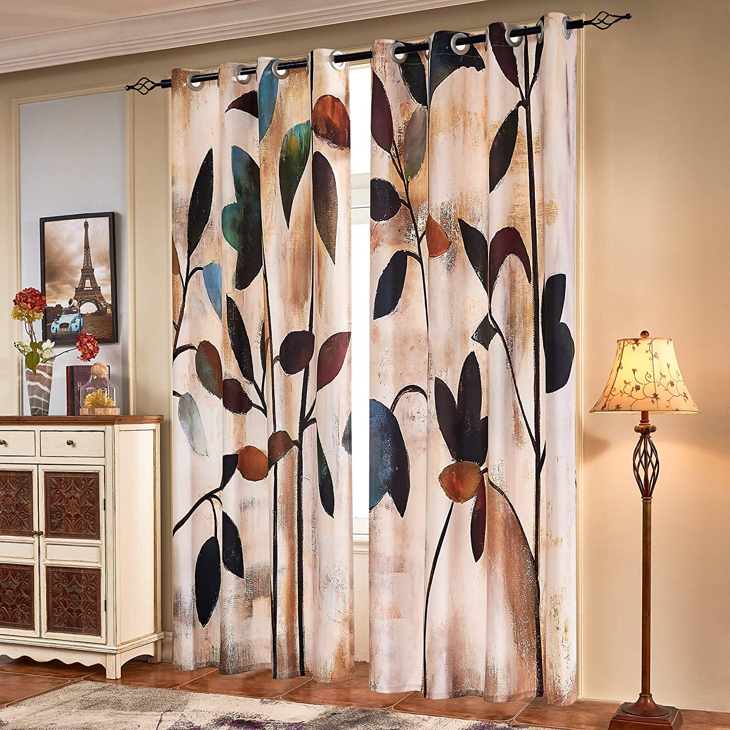 Subrtex Printed Curtains Blackout For Bedroom Living Room Kids Room Dining Room Valance Colorful Window Drapes 2 Panel Set 52 X 63 Brown Kitchen Dining