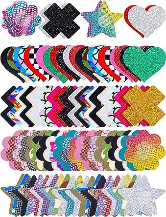 150 Pairs Multi Design Pasties Nipple Covers Disposable Breast Satin Petal Stickers Adhesive Breast Petals