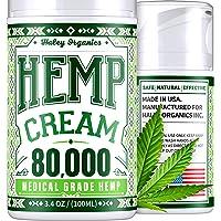 Pain Relief Cream with Hemp Oil - 80,000mg Extract - Arthritis, Back, Sciatica, Neck, Knee, Neuropathy Pain Relief - Safe to use with Arthritis Gloves, Back Massager, Knee Brace - USA Hemp Cream 3.4oz