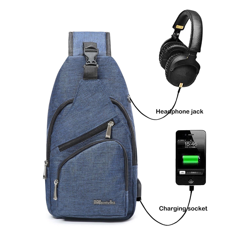 BSTcentelha Sling Shoulder Crossbody Chest Bag for Men Women Lightweight Hiking Travel Backpack Daypack with USB Charging Port (Black) BST-30