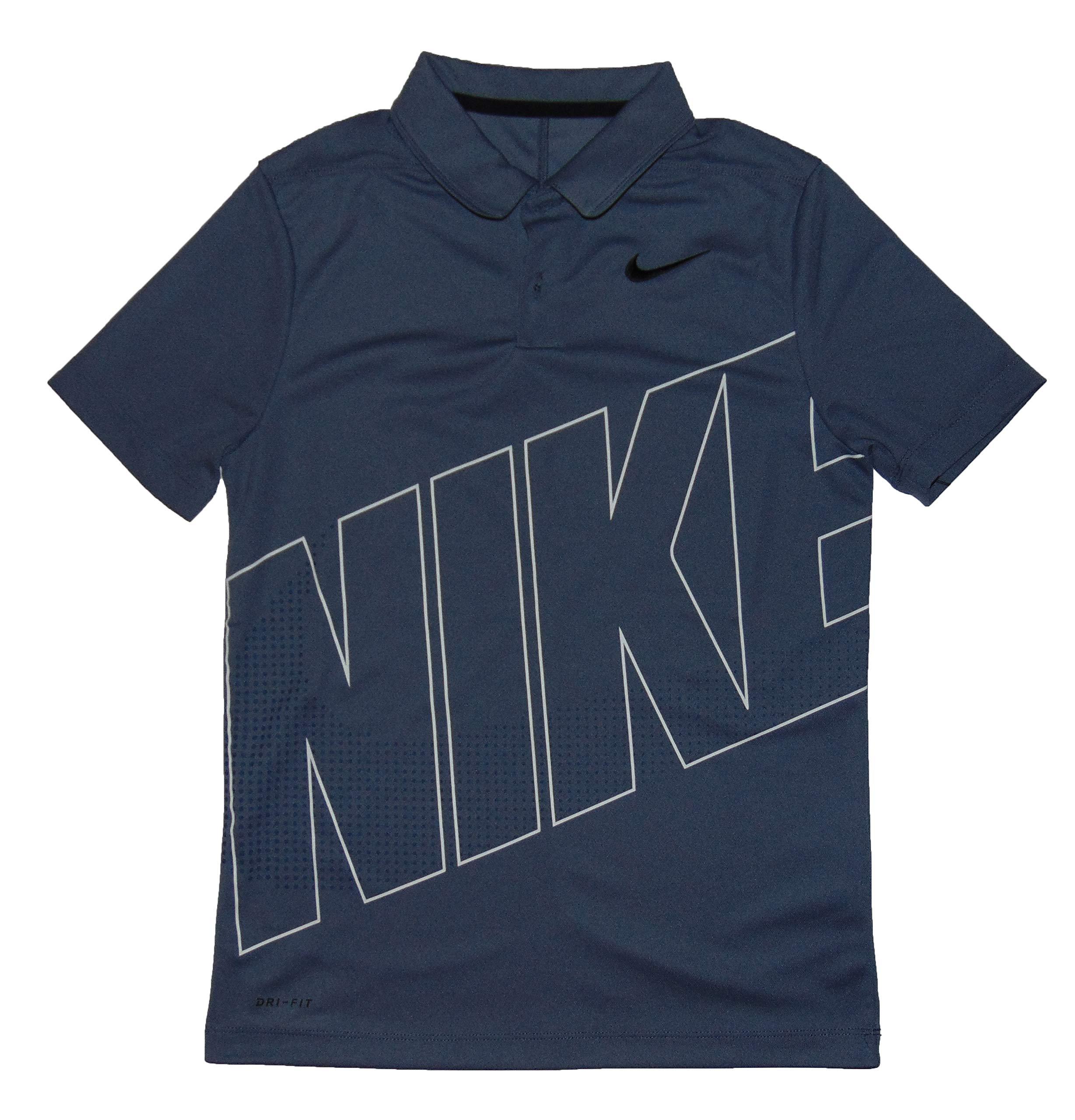 Nike Boys DRI FIT Essential GRFX 2 Golf Polo Medium Polyester Gray