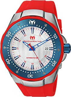 Technomarine Mens Manta Automatic Stainless Steel and Silicone Casual Watch, Color:Red